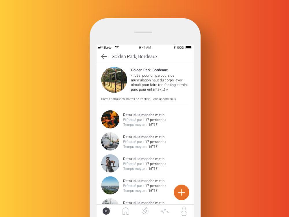 Application mobile The Fit Network page événements