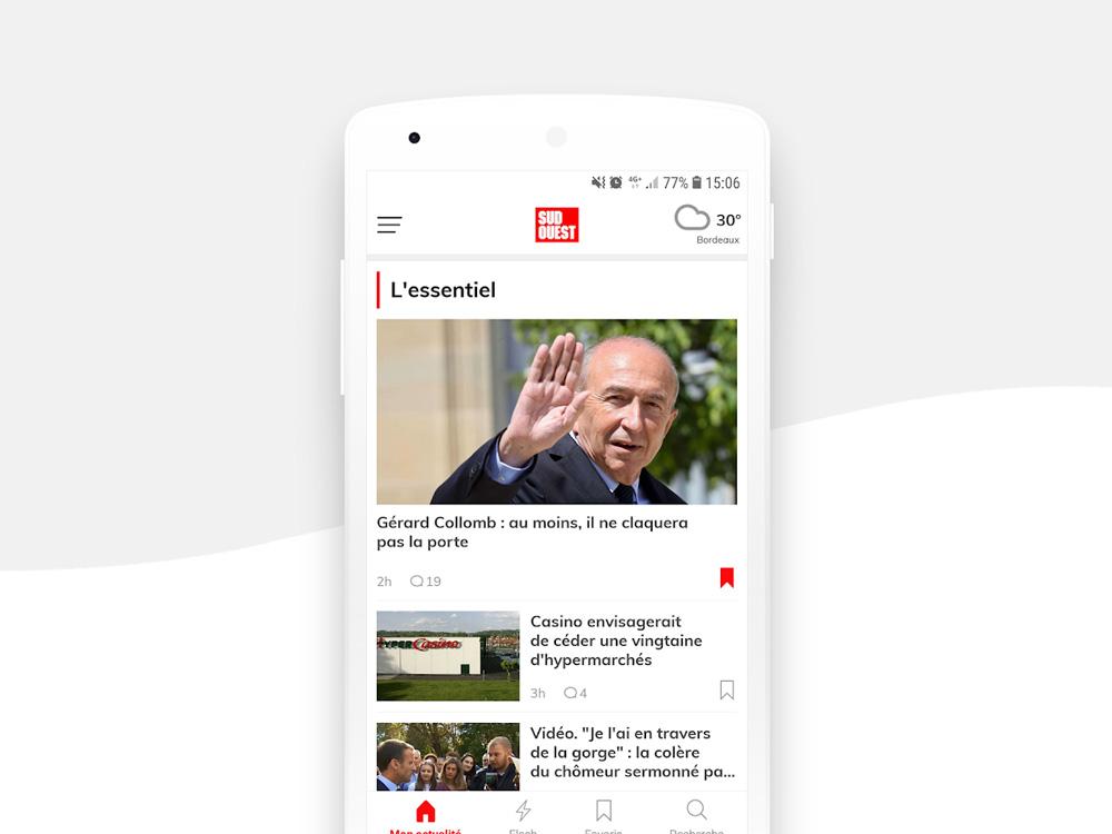 Application mobile Sud Ouest page d'accueil