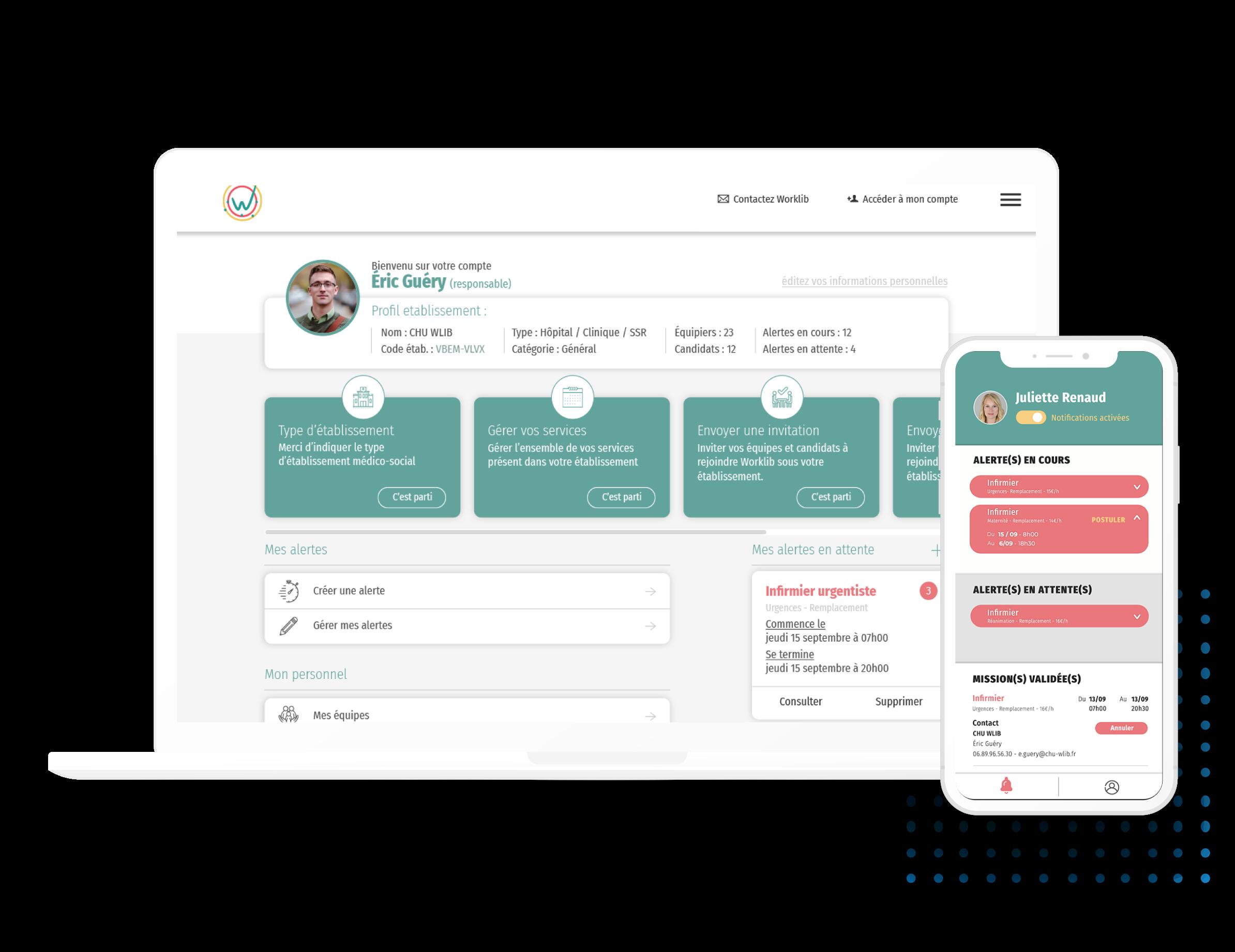 Mockup de l'application mobile et du site web worklib