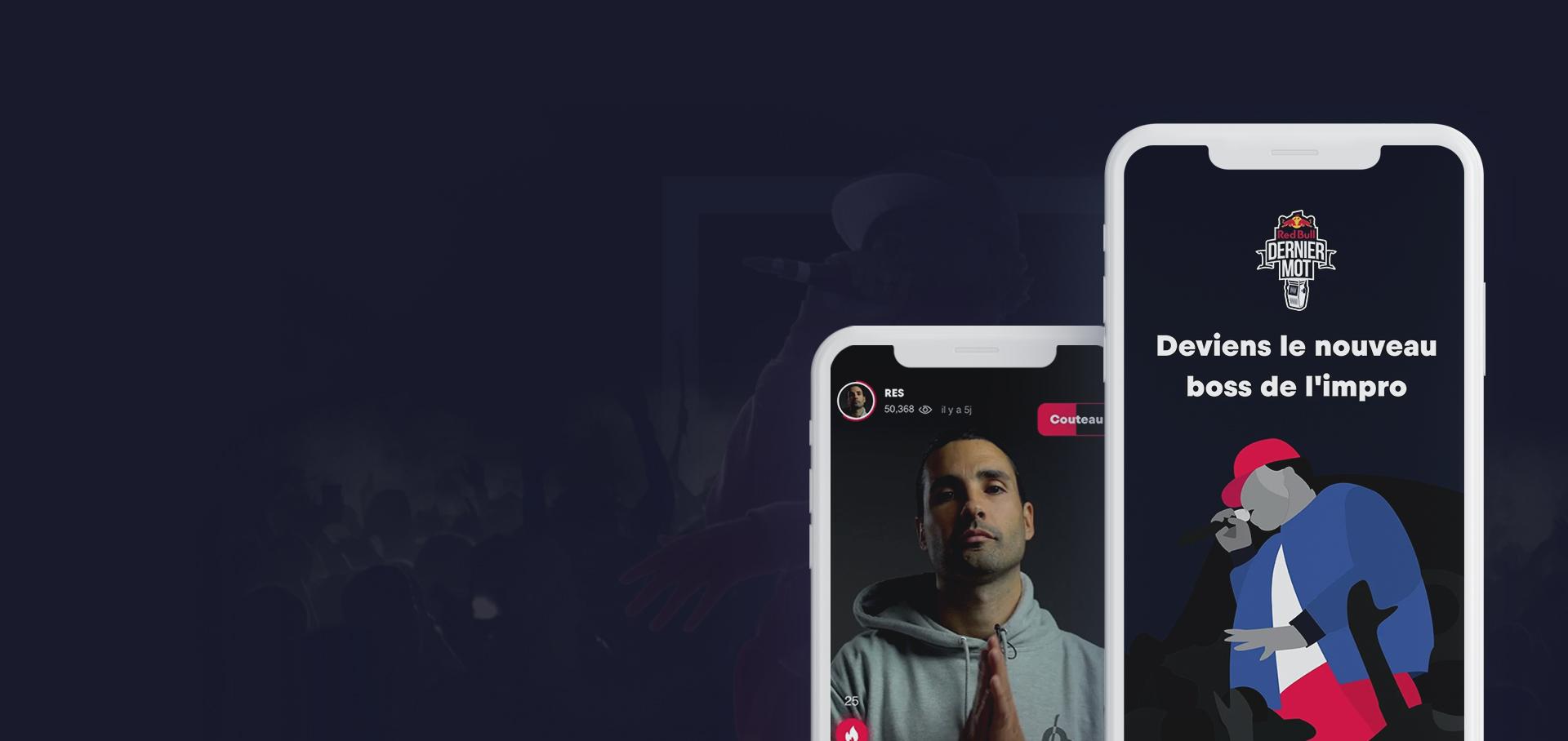 Header application mobile Dernier mot Red Bull